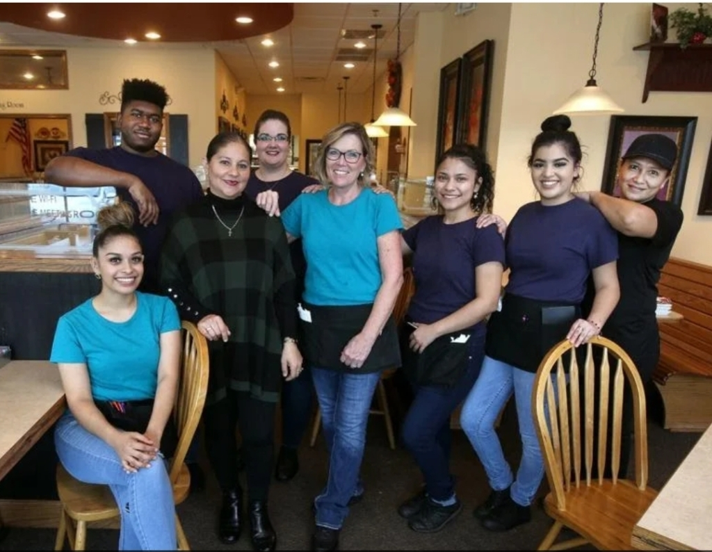 Members of our staff pose for a photo by Jerry Larson with Waco Today magazine at Our Breakfast Place, breakfast, brunch and lunch restaurant in Waco, Texas,